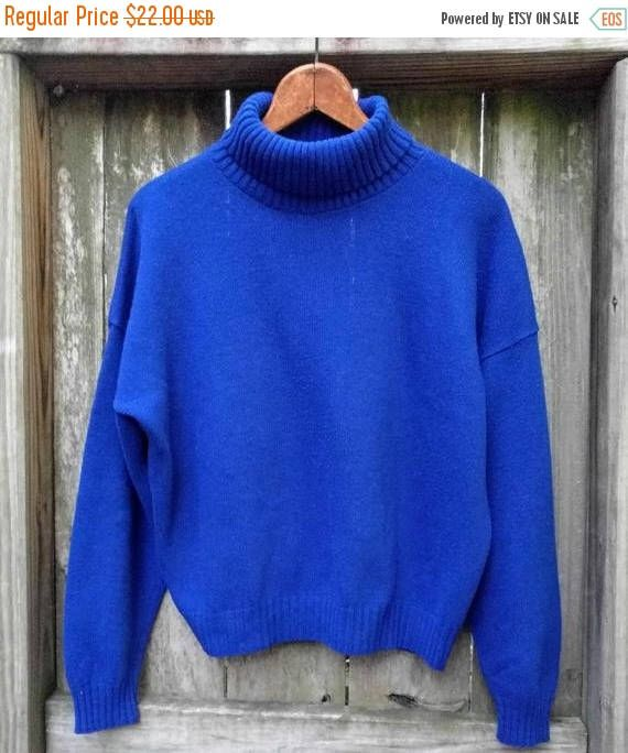 Indigo Blue Turtleneck Sweater/Soft Sapphire Sweater/Vintage Blue ...