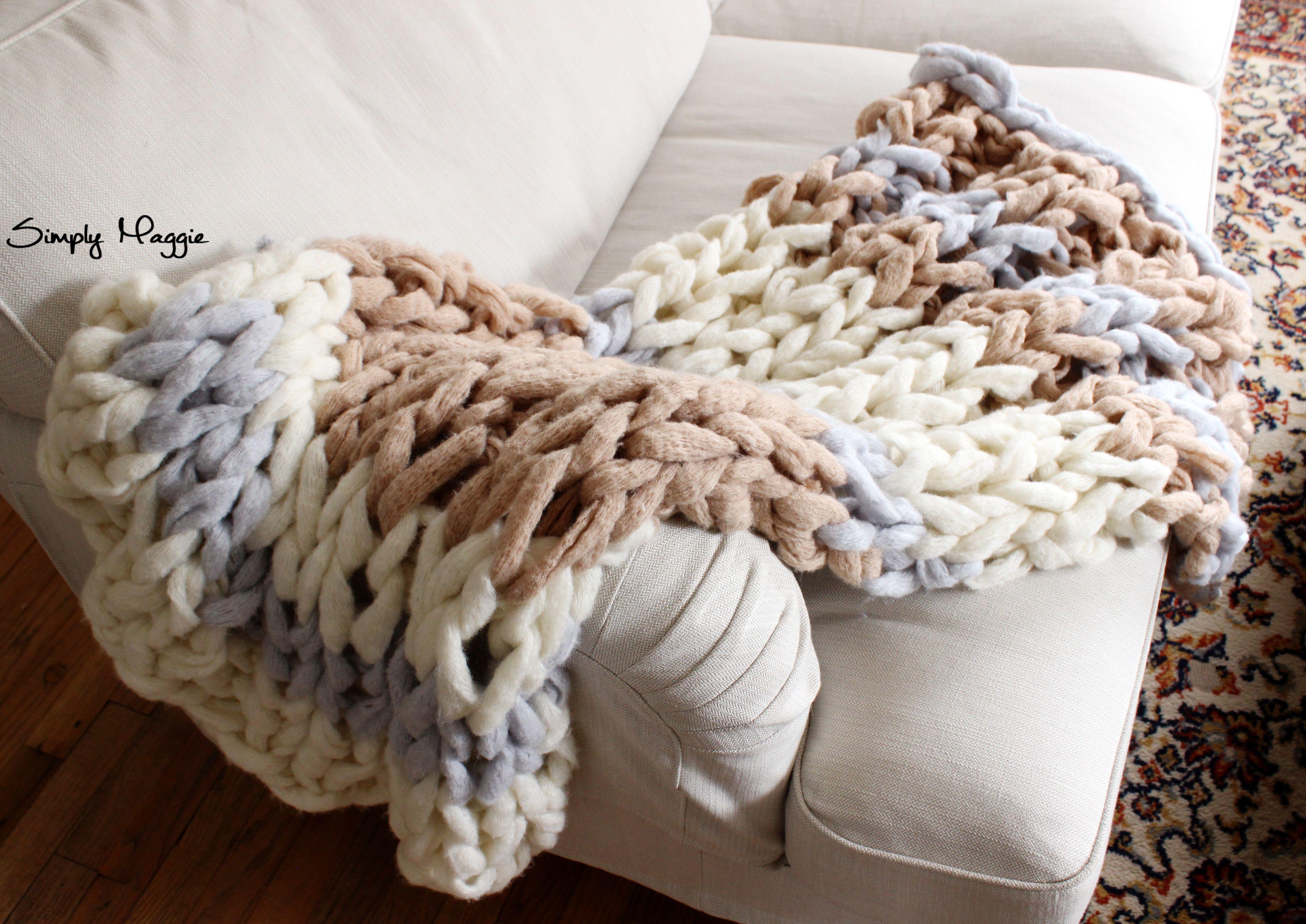 Diy Arm Knit Striped Rib Stitch Blanket Arm Knitting Finger