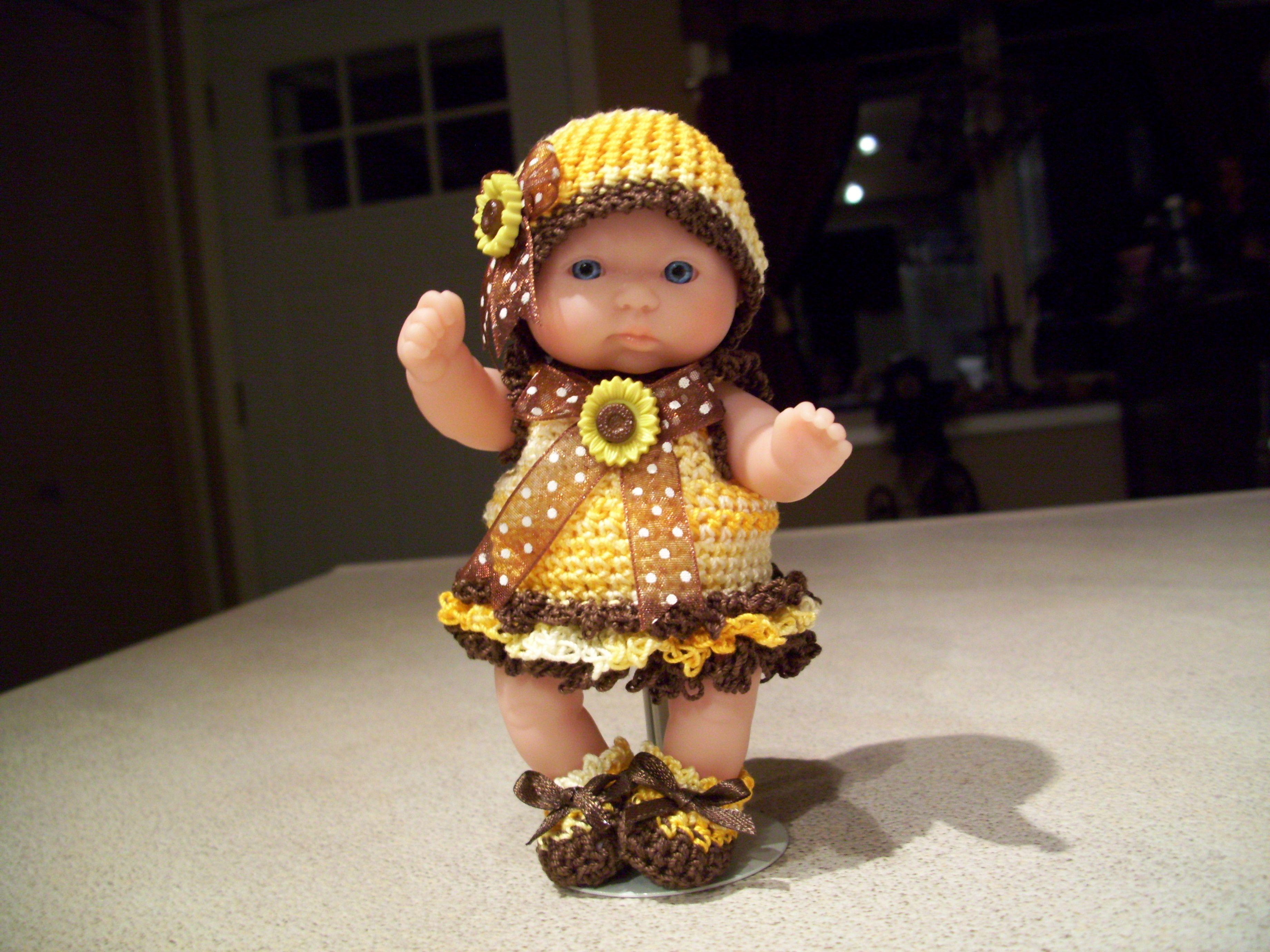 "Berenguer 5"" Baby Dolls - Sunflower dress # 117"