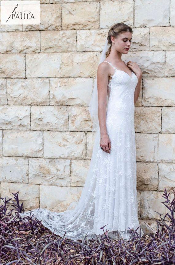 Bohemian Wedding Dress French Lace Wedding Dress Low Back Wedding ...