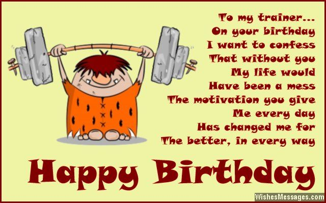 Birthday card greeting to personal trainer