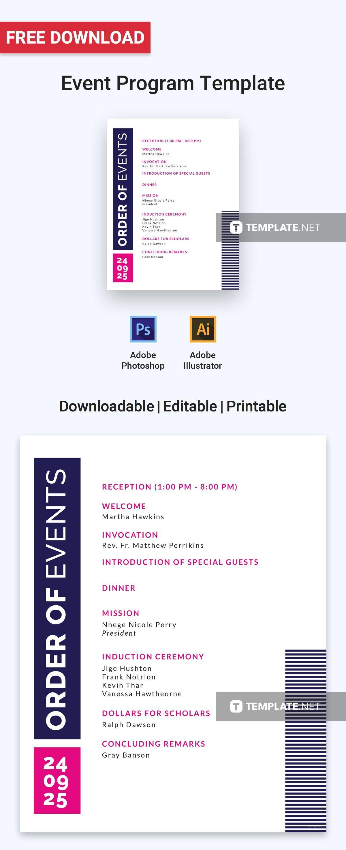 Free Event Program Invitation Program Templates Designs Within Free Event Program Templates Word Event Program Free Program Templates Program Template Schedule of events template word