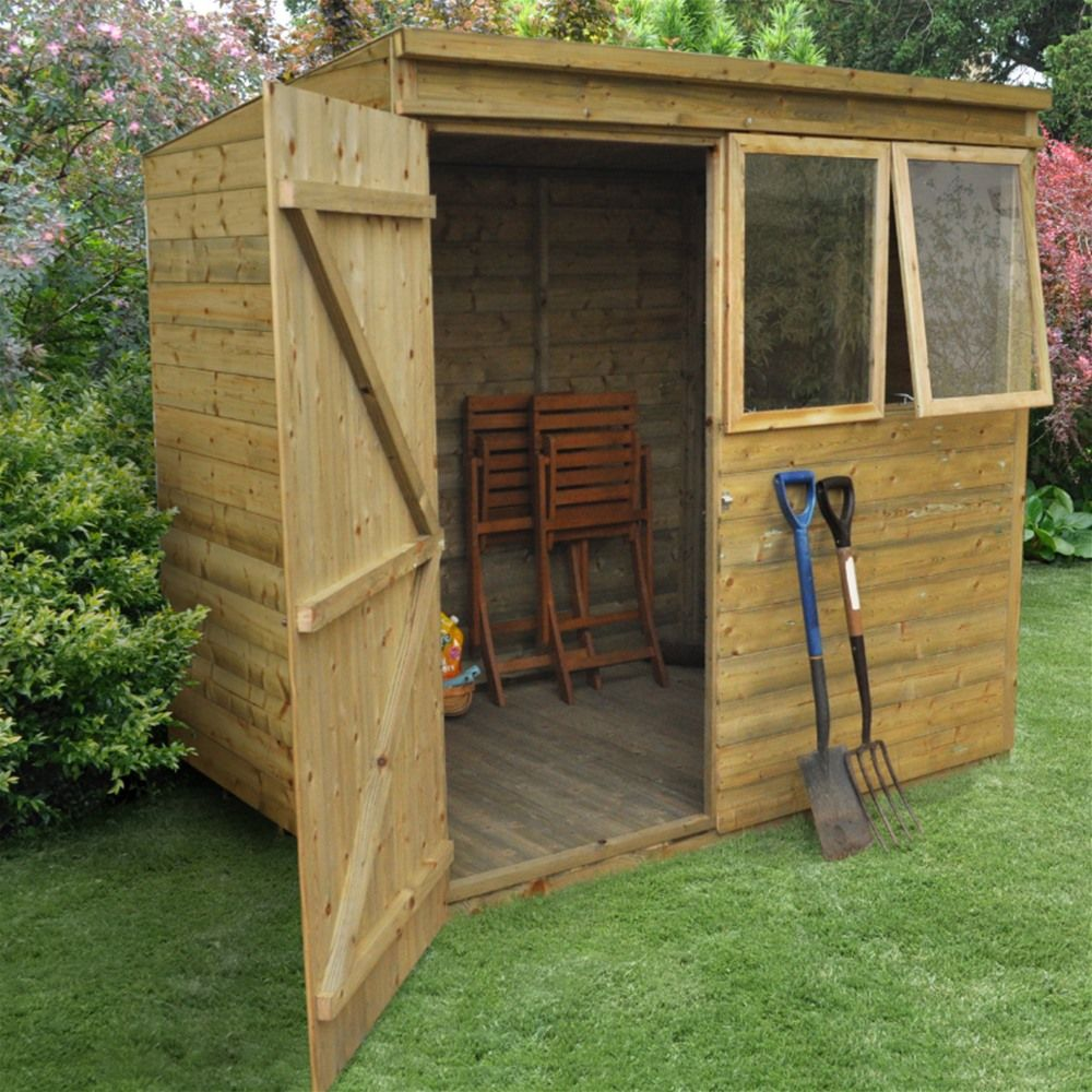 forest garden pressure treated shiplap pent shed 7 x 5 - Garden Sheds 7x5