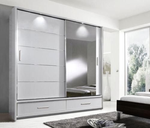 Brand New Modern Bedroom Mirror Sliding Door Wardrobe Arti 5 200cm In Matt Whi Sliding Wardrobe Doors Sliding Door Wardrobe Designs White Sliding Door Wardrobe