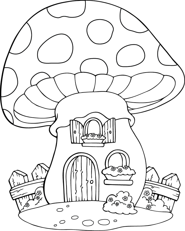 coloriage une maison champignon dory coloriages. Black Bedroom Furniture Sets. Home Design Ideas