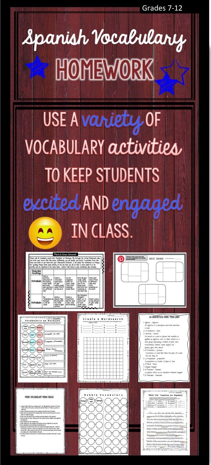 Spanish Vocabulary Activities Homework Menu and Practice