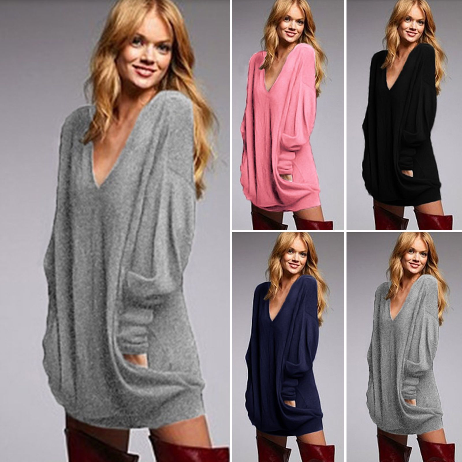 Cool Amazing Womens Long Sleeves Knitted Sweater Mini Dresses ...