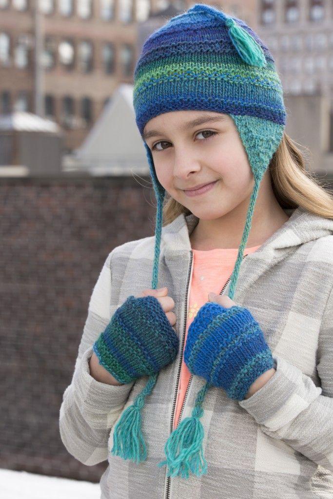 Child's Earflap Hat & Wristwarmers in NAVAJO | Tahki Stacy ...