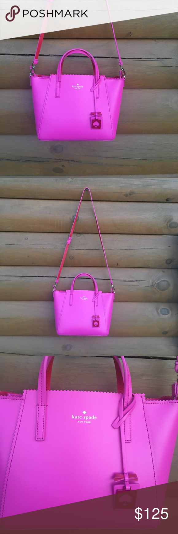 Kate spade purse Hot pink with red interior ivy drive Kate spade with top zip short handles with long crossbody one tiny spot as shown literally like new beautiful structured leather 8.5 tall 12 accross front 5 inch sides kate spade Bags Crossbody Bags