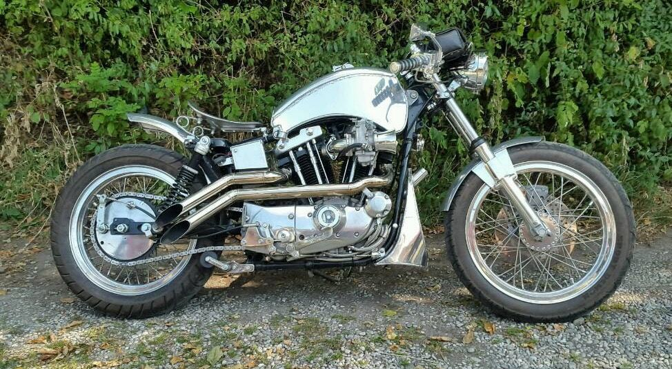 1976 Harley Davidson Ironhead Sportster Cafe Racer Polished Stainless Steel Alloy