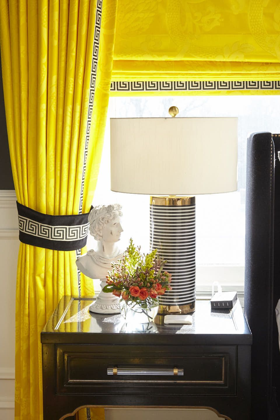 The Wilson Room By Tobi Fairley Yellow Curtains Bedroom Yellow Bedroom Black And White Living Room #yellow #black #and #white #living #room
