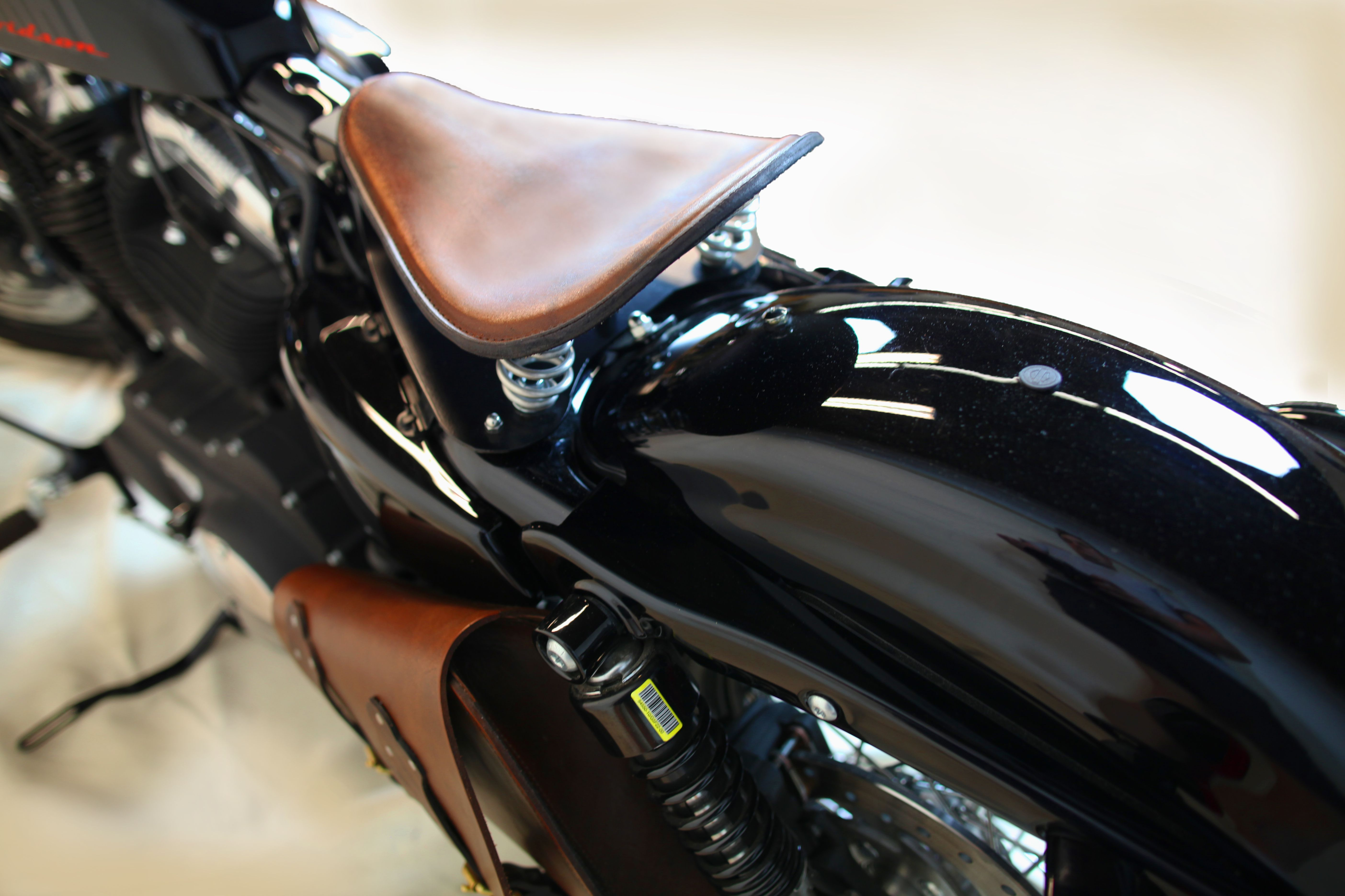 fe7f81392da4a 10x13 brown distressed leather Sportster seat spring seat mounting and  saddle bag on our Mother Road Customs shop sportster 48