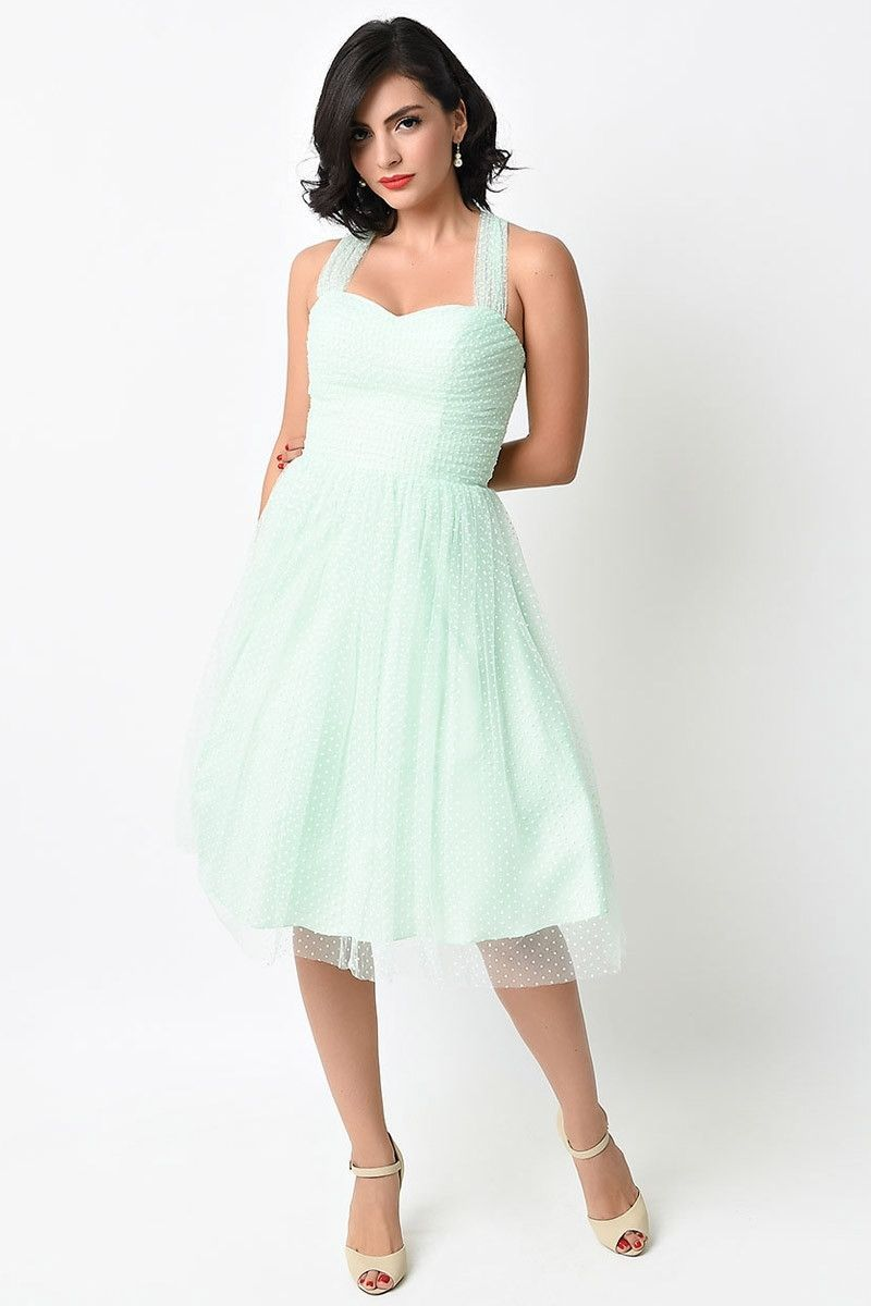 ec7f0229a2c Retro Vintage Cocktail Dress with sheer cap sleeves in pastel colors Unique  Bridesmaid Dress XS - 4X