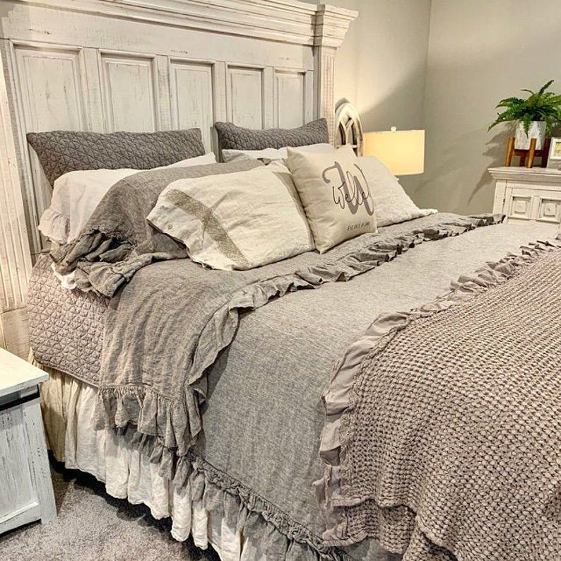 Bed Sheet Set Linen Shabby Chic Bedding Linen Sheet Set Bedding Set Queen King 100 Linen Linen Bedding Sheet Set Stonewashed In 2020 Chic Bedding Chic Bedroom Shabby Chic Bedding