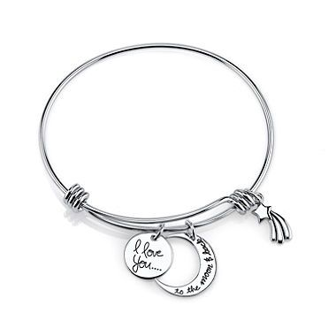 I Love You To The Moon And Back Expandable Bracelet In Sterling