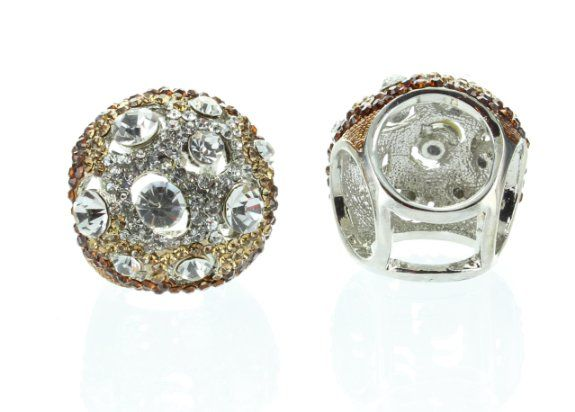 Amazon.com: Womens Rings, Gold, Clear & Topaz Stones Rhinestone Ring, Size 7, Large Face: Jewelry