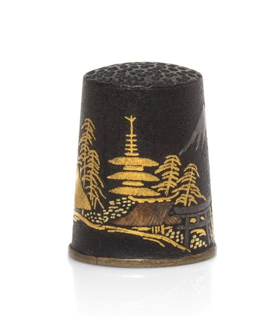 A Japanese Mixed Metals Thimble, Height 7/8 inch.