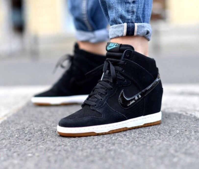 official photos 9b0ab 0a5f1 NEW NIKE WOMEN SKY HI DUNK ESSENTIAL BLACK WEDGE FASHION SHOE 644877 008 A  SZ 12  Nike  BasketballShoes