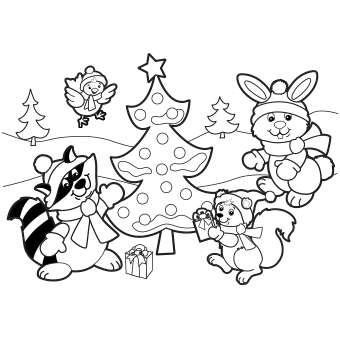 Holiday Scene Coloring Page Free