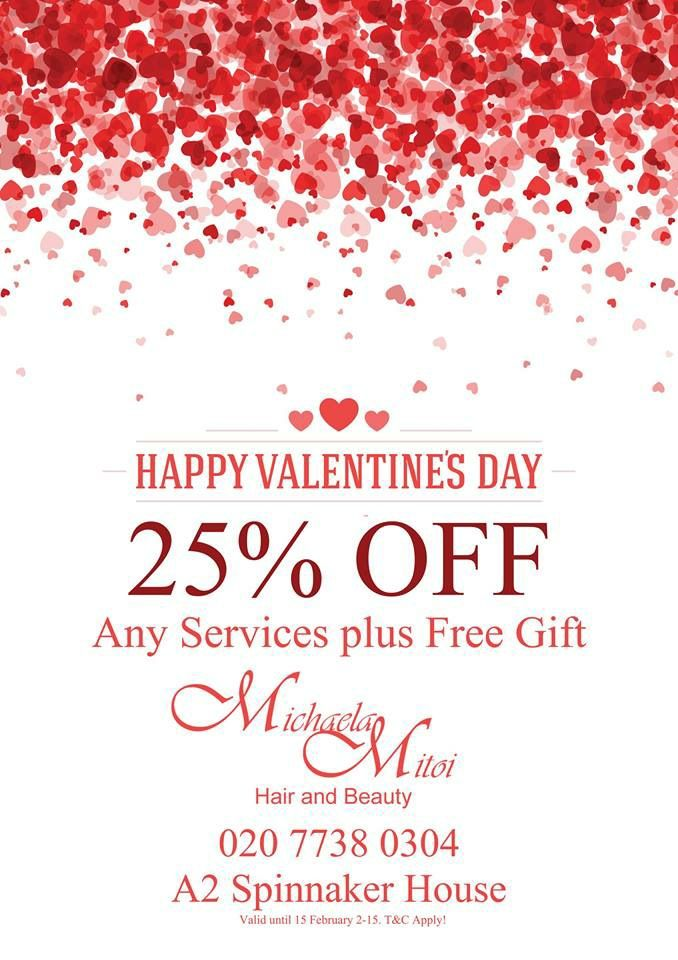 Valentine's Day Hair and Beauty Offer #hairdresser #london #hairstyle #hair_trends_2015 #beauty #nails #facial #gel_manicure #highlights #colour_trends_2015 ...