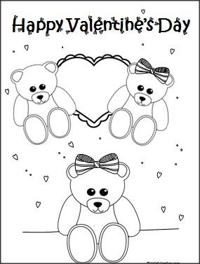 This is a Valentine's Day Teddy Bears coloring page
