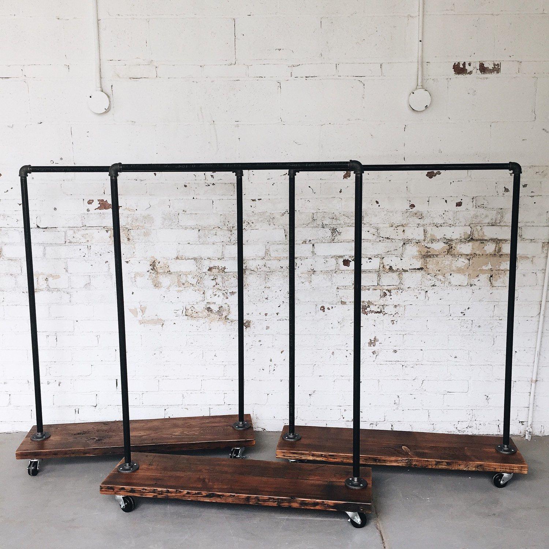Rustic Industrial Reclaimed Wood Retail Rolling Garment