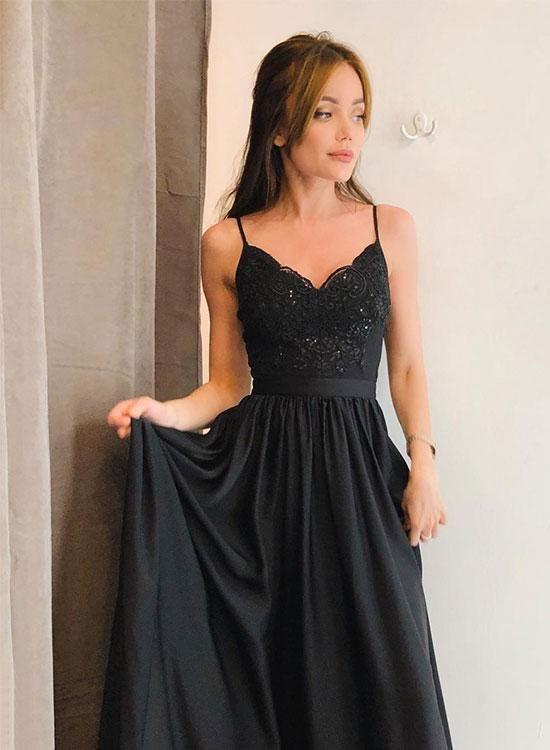 Beautiful A-Line Spaghetti Straps Black Satin Long Prom/Evening Dress with Split