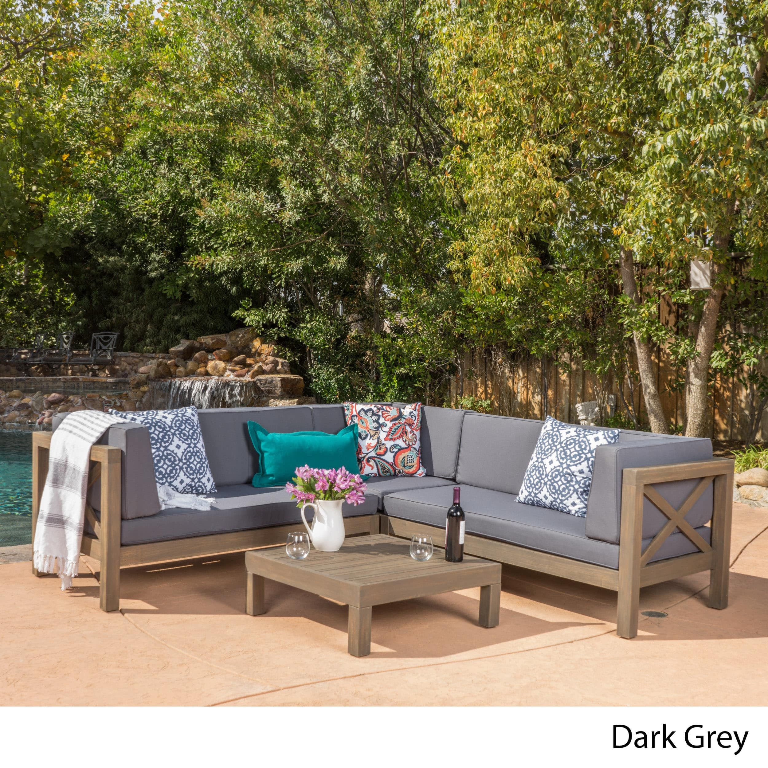Brava Outdoor 4 Piece Wood Sectional Set W Cushions By Christopher Knight Home Dark Grey With Teak Finish Size Sets Patio Furniture