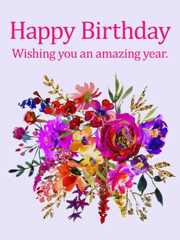 Lavender Happy Birthday Wishes Card Birthday Greeting Cards By Davia Happy Birthday Wishes Cards Unique Birthday Wishes Birthday Wishes For Friend