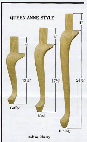 Amish Made Unfinished Wood Queen Anne Table Leg Wood Furniture