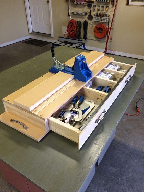 My custom Kreg pocket hole jig work station, storage and