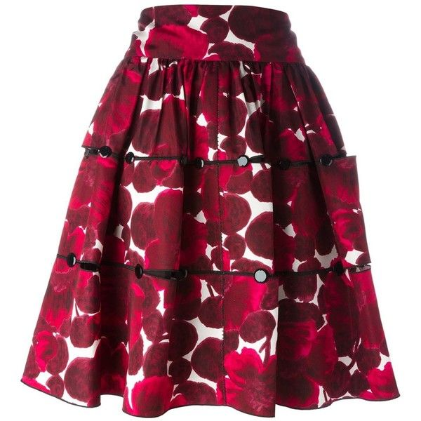 Marc Jacobs Floral Print Skirt (31,645 MXN) ❤ liked on Polyvore featuring skirts, bottoms, marc jacobs, floral skirt, flower print skirt, floral printed skirt, red floral skirt and high rise skirts