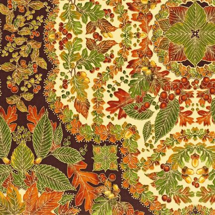 "1 Yard Kaufman  /""Shades of the Season/"" Harvest Metallic Fabric"