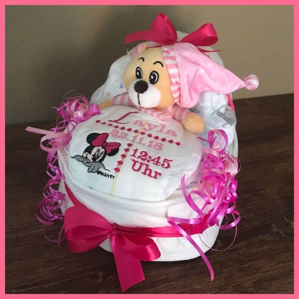 Mitbringsel Taufe Geburt BETTCHEN Baby Mädchen Windelgeschenk PAMPERS