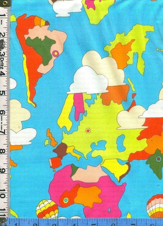 Fabric henry good earth world map design colorful kids oop bthy fabric henry good earth world map design colorful kids oop bthy gumiabroncs Gallery