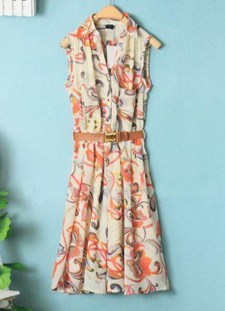 Printed V Neck Sleeveless Chiffon Dress