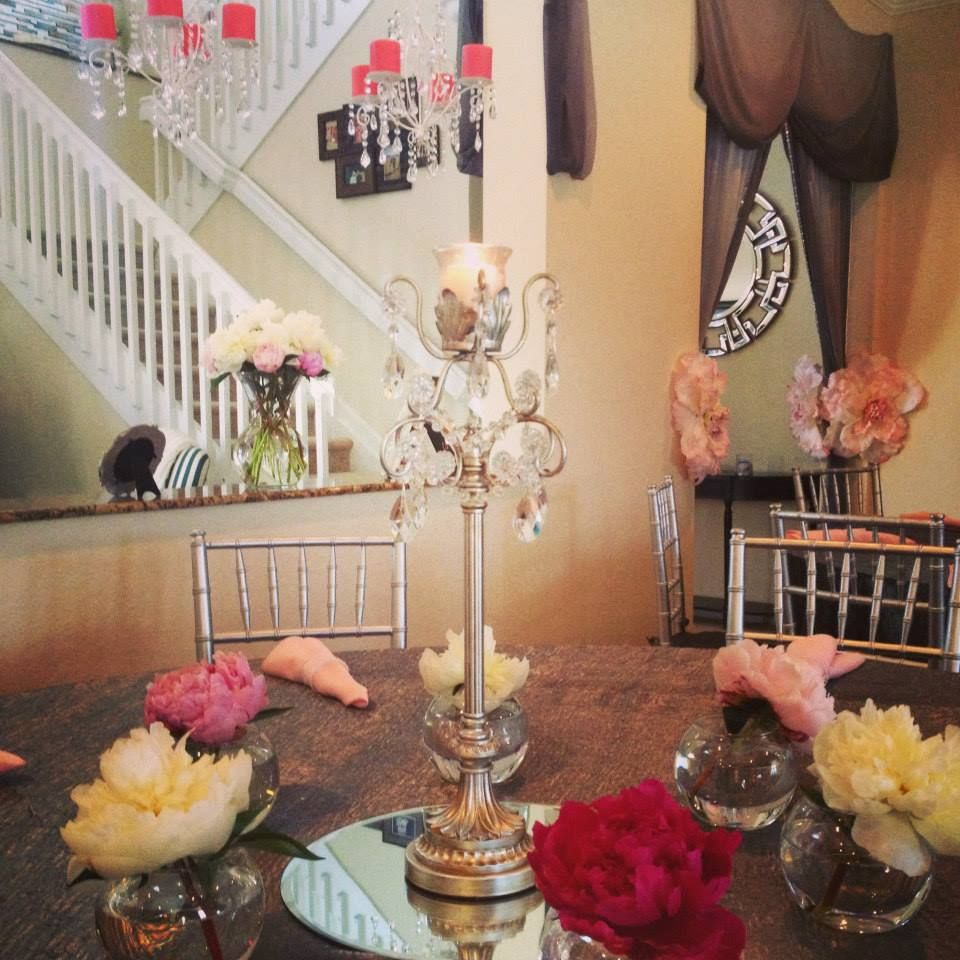 bridal shower- table arrangments