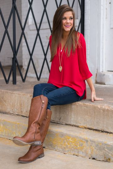 Simply Classic Blouse, Red from The Mint Julep Boutique . Worried the top  is too flows but looks cute on her