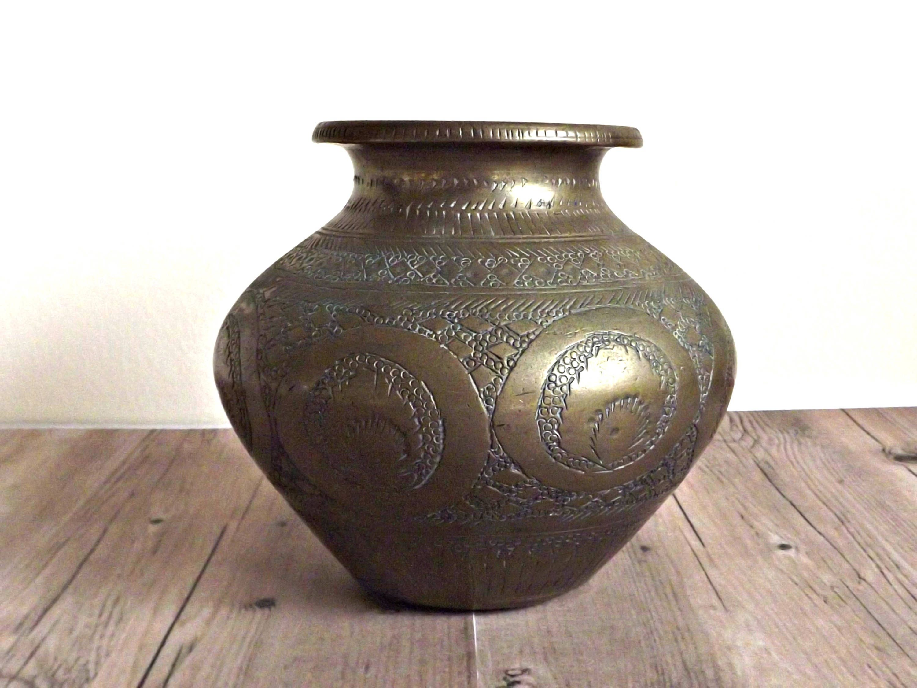 Vintage brass vase etched brass bohemian decor retro chic decor vintage brass vase etched brass bohemian decor retro chic decor solid brass reviewsmspy