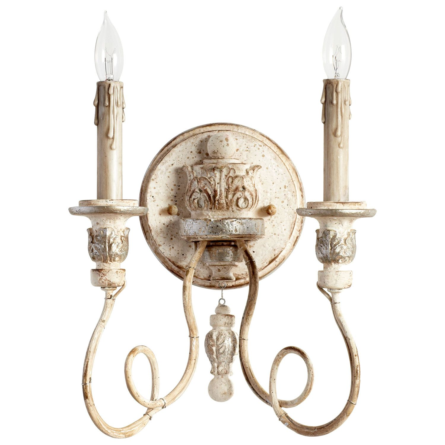 Mystic silver and company - Cyan Design Florine Persian White And Mystic Silver Two Light Wall Sconce