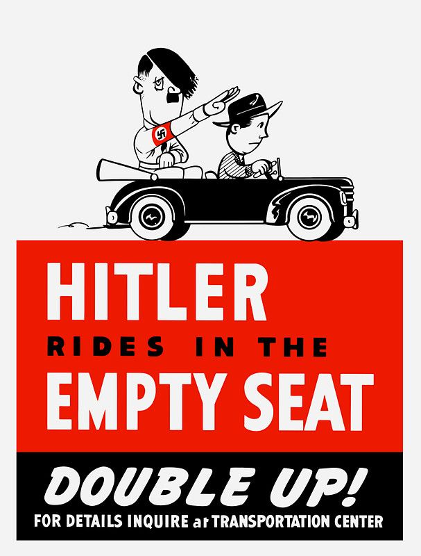 Hitler rides in the empty seat double up sticker by warishellstore