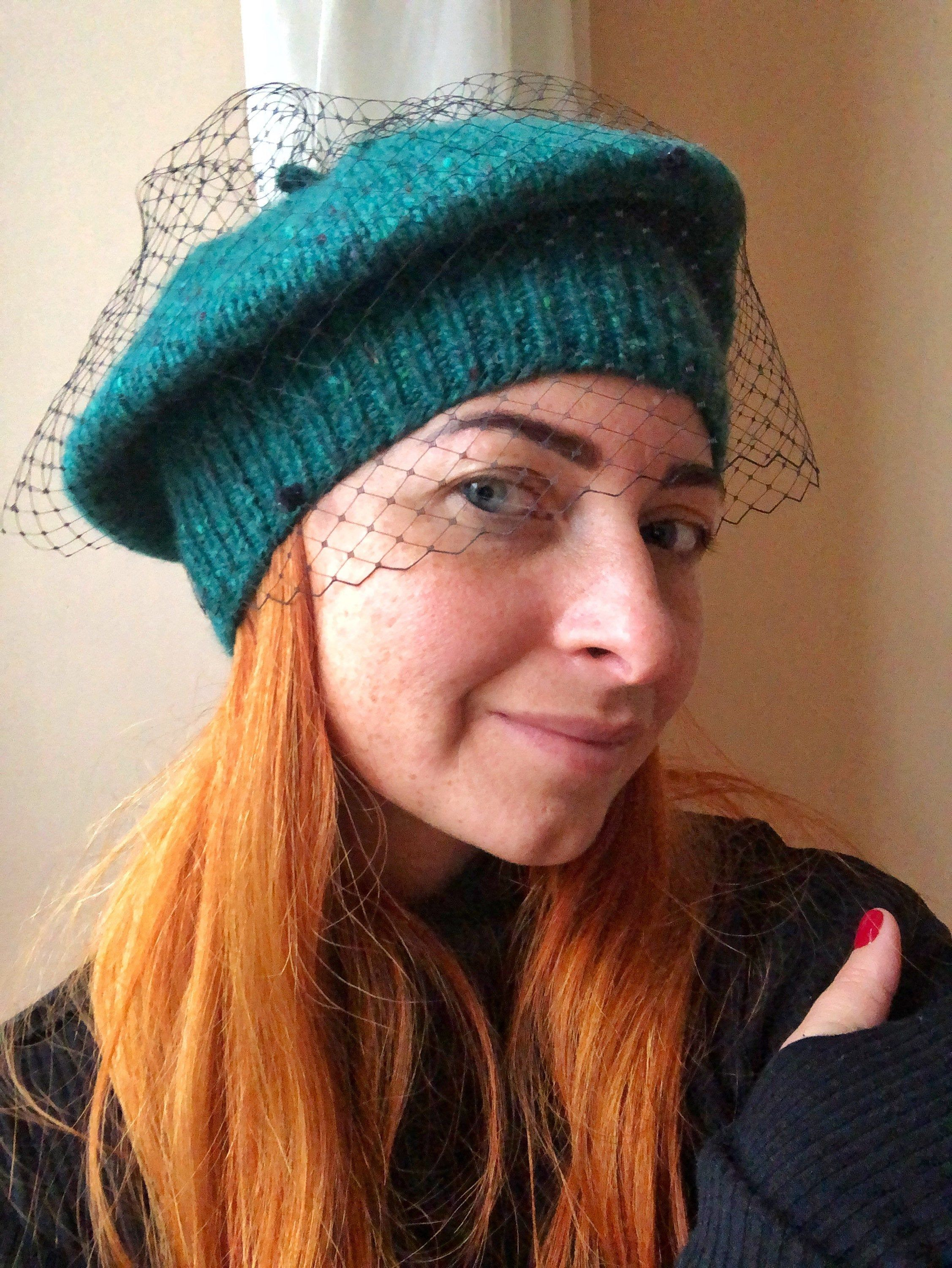 Green Tweed Knit Beret With Veil For Women And Girls Pretty Hats Women Hats Fashion Knitted Beret