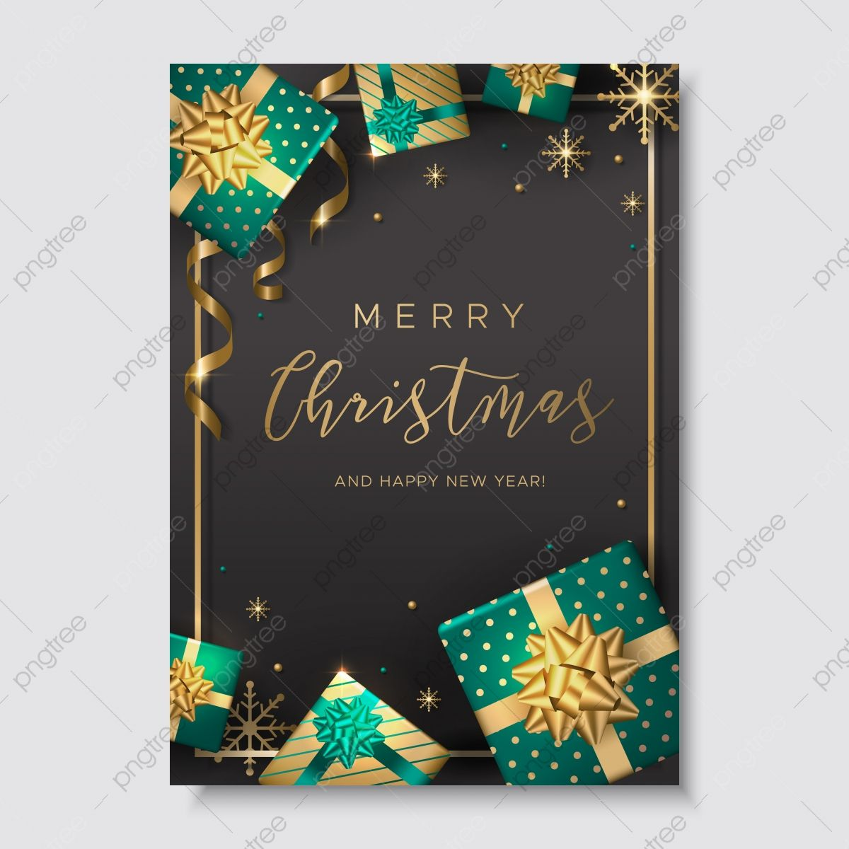 Merry Christmas Card With Gold S And Presents In Holiday Packaging Template Download On Pngtree Christmas Card Images Merry Christmas Card Christmas Cards Free