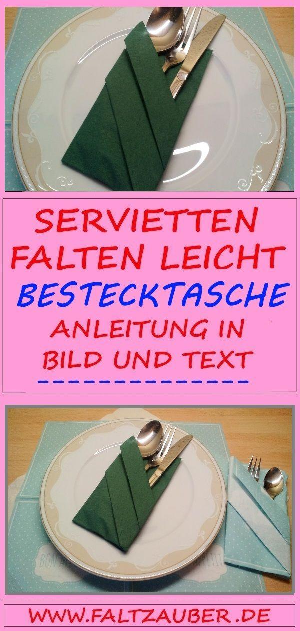 � Servietten falten Anleitung #Bestecktasche �