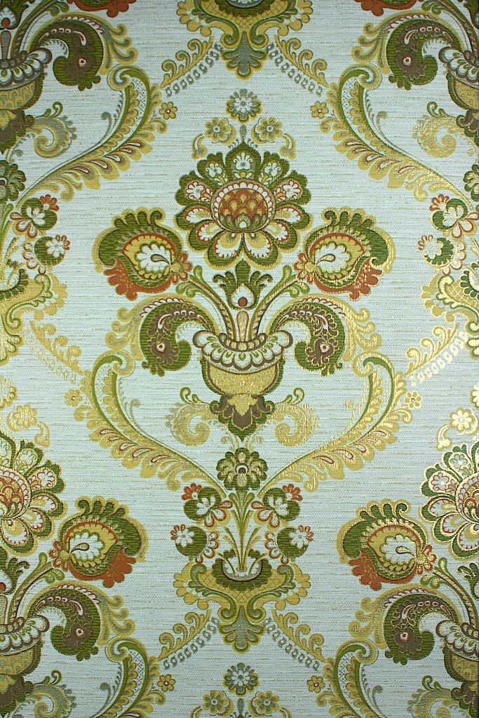 Vintage Green And Gold Damask Wallpaper Original Retro With A Large Baroque