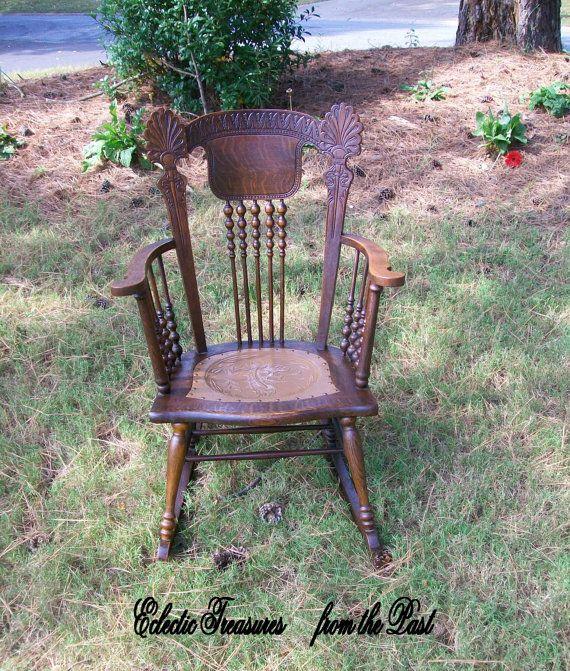 Beautiful Tiger Oak Rocker with Gargoyle Seat by EclecticPast, $375.00