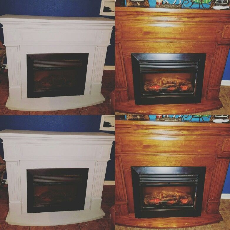 before and after electric fireplace makeover with chalk paint and primer no sanding yay