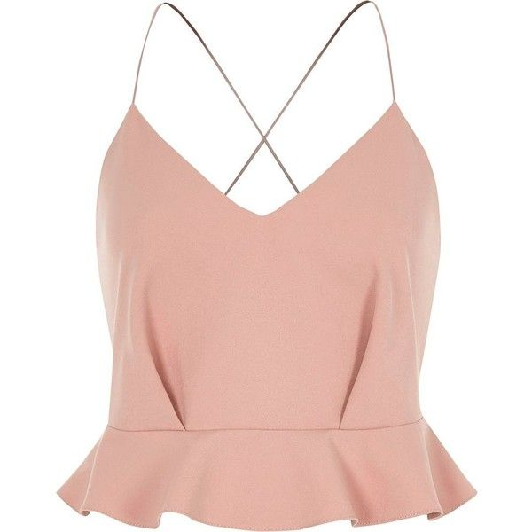 0229be9da5b River Island Light pink strappy peplum crop top ($60) ❤ liked on Polyvore  featuring tops, crop tops / bralets, pink, women, crop top, red peplum top,  ...