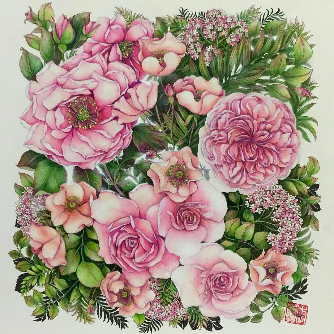 "783 Likes, 10 Comments - Arte Como Terapia (@artecomoterapia) on Instagram: ""Beautiful flowers!!!! @Regrann from @cherrycolours -  #artecomoterapia #coloringbook…"""