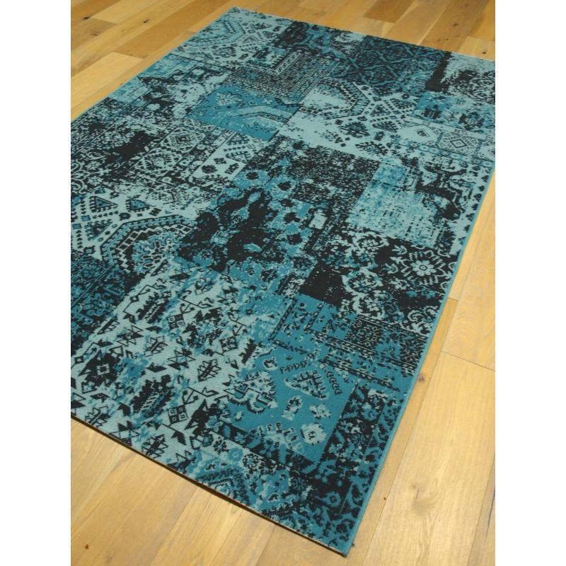 Tapis patchwork bleu. Collection VINTAGE. 160x230cm.